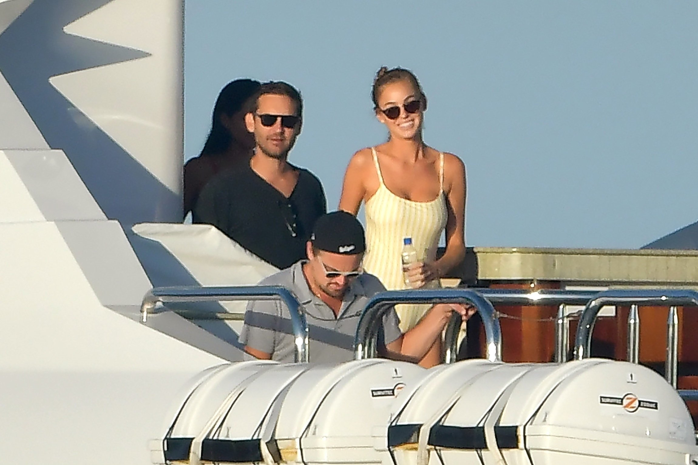Leonardo DiCaprio and Tobey Maguire spotted living the bachelor dream as they party on a yacht