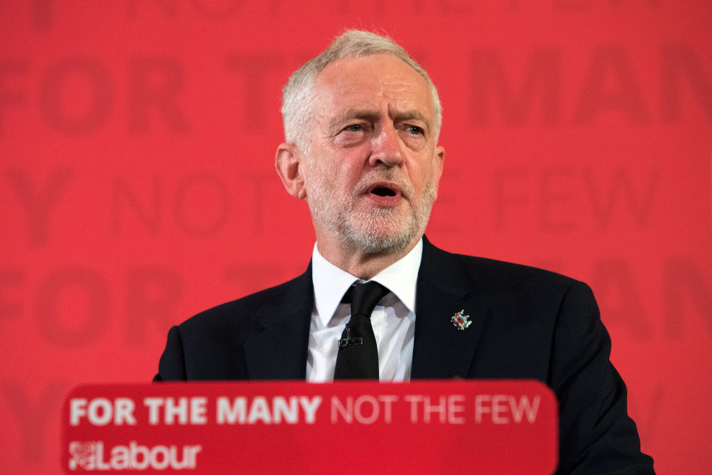 """Opposition Labour Party leader Jeremy Corbyn makes a speech on defence on May 26, 2017 in London, England. Mr Corbyn stated that UK foreign policy would change under a Labour government to one that """"reduces rather than increases the threat"""" to the country, as election campaigning resumed after the attack in Manchester earlier this week."""