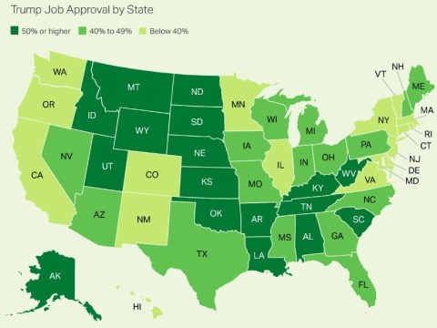 Here's Donald Trump's approval rating state by state