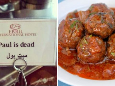 Hotel tried to label meatballs in English but ended up killing a man named Paul