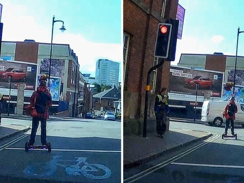 Man narrowly avoids being hit by van after jumping red light on hoverboard