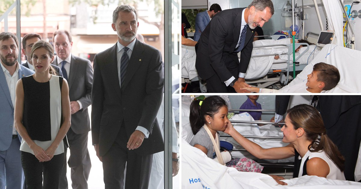 King Felipe VI and Queen Letizia of Spain visit injured victims of Barcelona attack