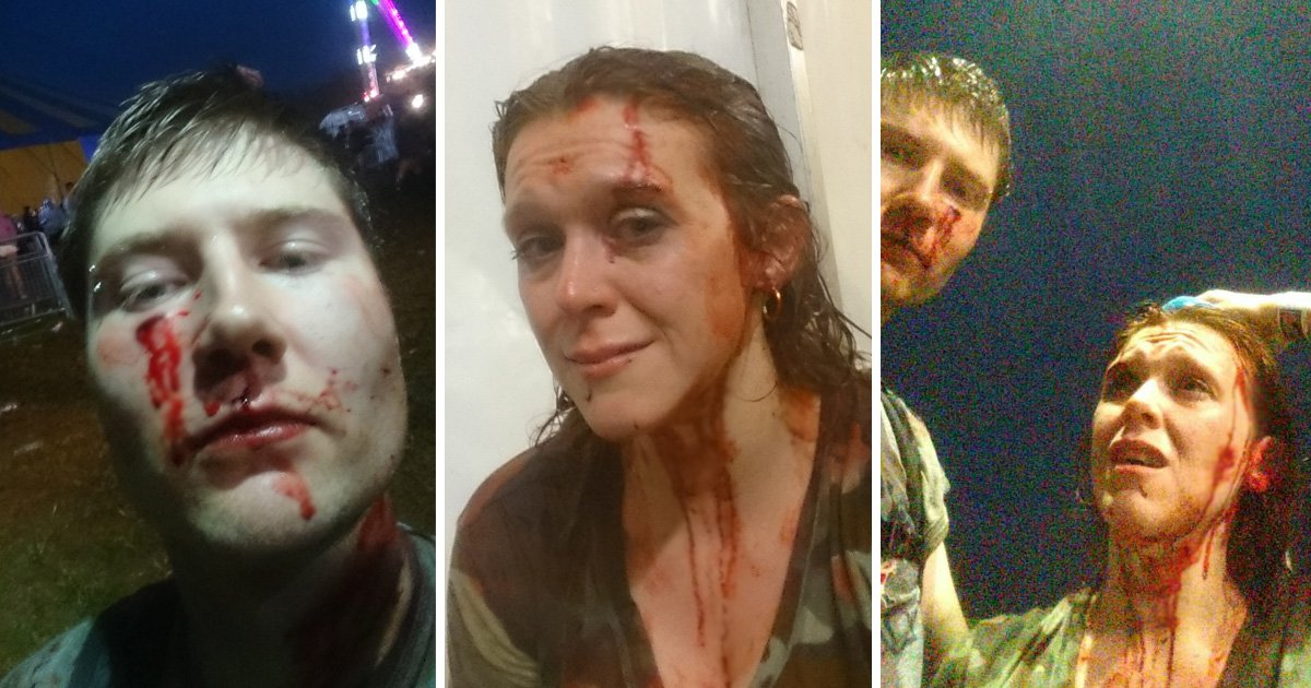 Couple punched and kicked by group of men in random attack at music festival