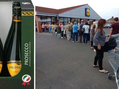 Massive queues outside Lidl at 7am for Bank Holiday special offer on Prosecco