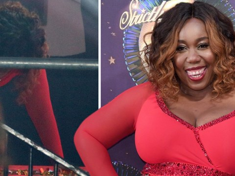 Strictly Come Dancing's Chizzy Akudolu appears to fall over during the launch