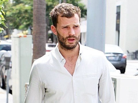 Jamie Dornan's scruffy shirt and beard combo for business meetings in LA is honestly too much