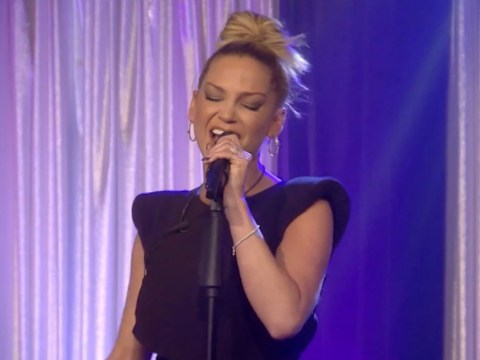 Sarah Harding had to hold up lyrics to sing Girls Aloud song on CBB