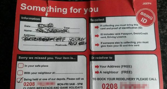 Warning over fake 'missed delivery' notes posted through