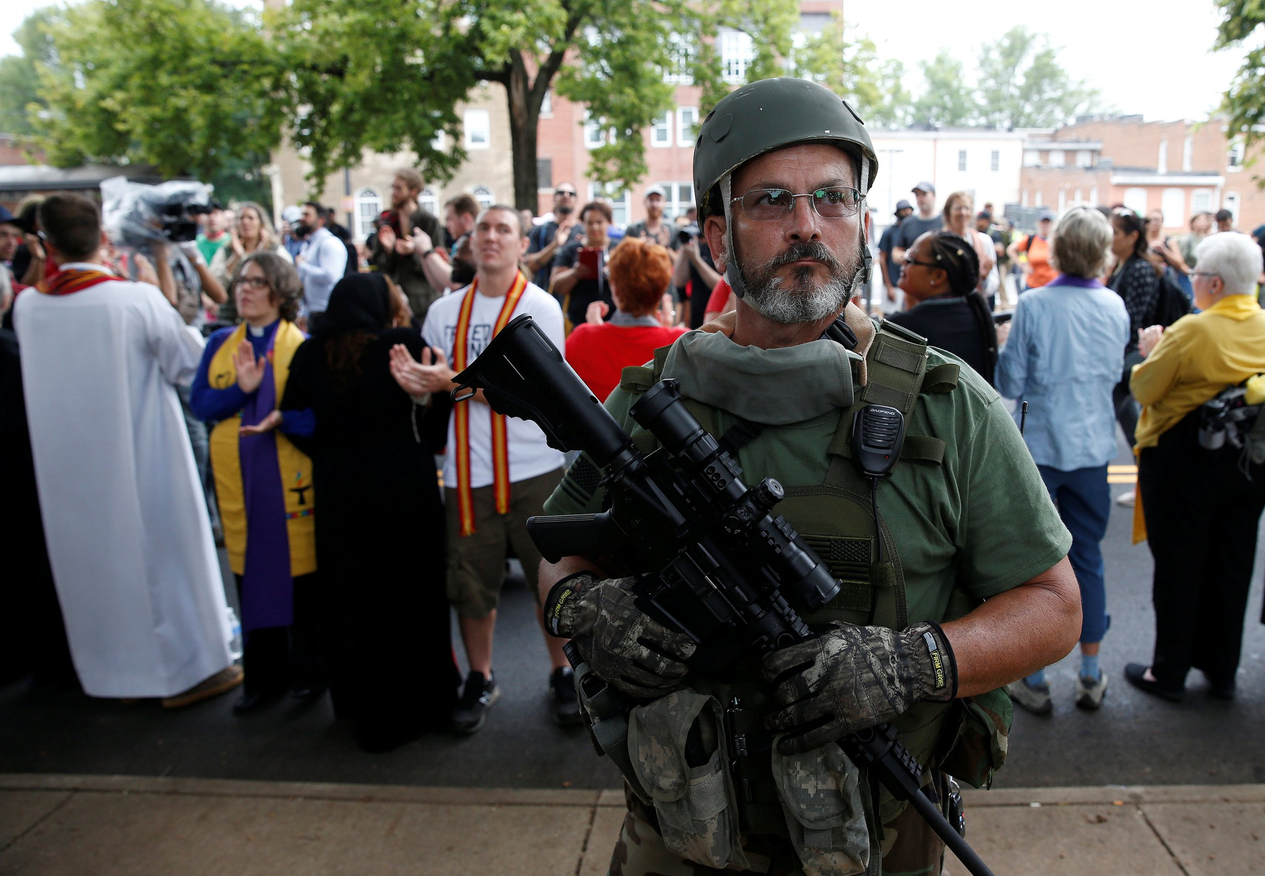White supremacist militia seen patrolling Charlottesville rally with assault rifles