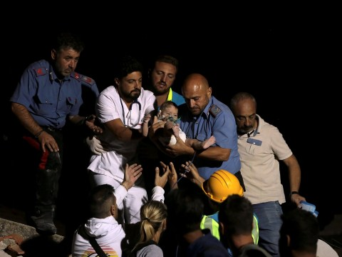 Incredible moment baby is rescued from the rubble after Italian earthquake