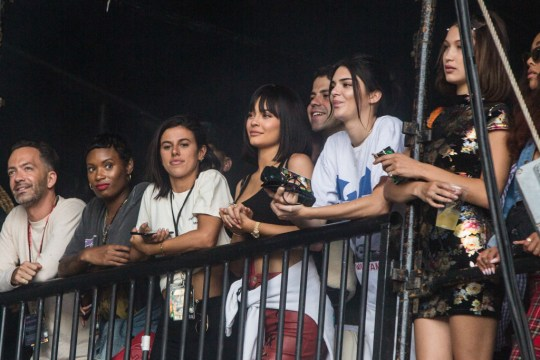 0076c616c959 July 8: Wireless, London. Kylie Jenner and Kendall Jenner watch Travis ...