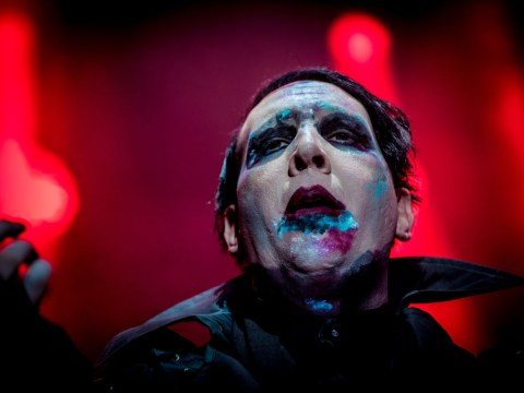 Marilyn Manson 'flicks journalist's testicles' during an interview about Columbine shootings