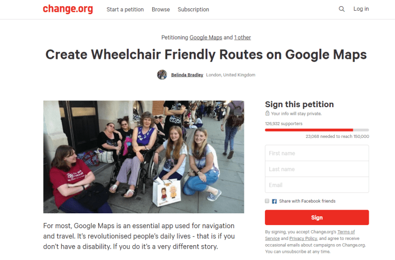 Google maps are finally getting more wheelchair friendly