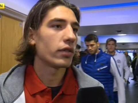 Hector Bellerin pushed by Alvaro Morata in Stamford Bridge tunnel ahead of Chelsea v Arsenal
