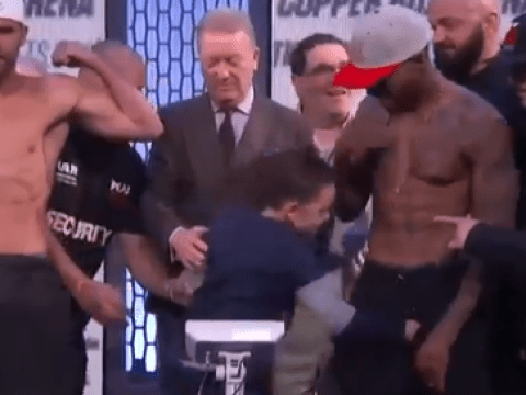 Billy Joe Saunders' son disrupts title fight weigh-in by punching and kicking Willy Monroe Jnr in the balls