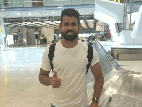 Diego Costa pictured on his way to complete transfer from Chelsea to Atletico Madrid