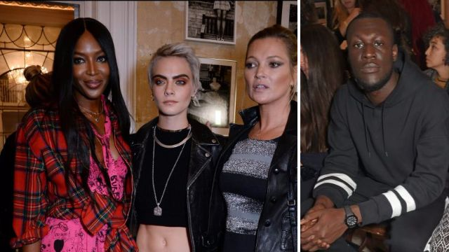 Stormzy joins Jourdan Dunn, Naomi Campbell, Kate Moss and Cara Delevingne at Burberry's London Fashion Week show