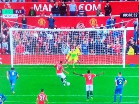 Romelu Lukaku seen celebrating Anthony Martial's penalty BEFORE ball is even struck