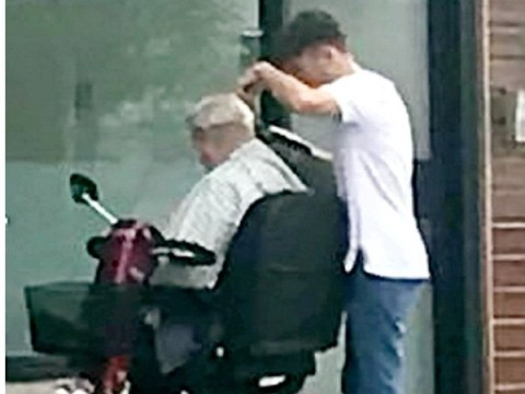 Barber cut pensioner's hair outside shop because mobility scooter couldn't get inside