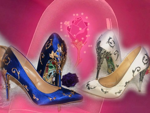 Beauty and the Beast inspired bridal heels will ensure your wedding is truly enchanting