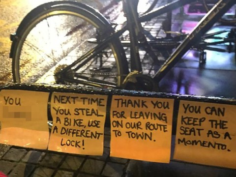 Brilliant passive-aggressive notes left behind after cyclist finds their stolen bike