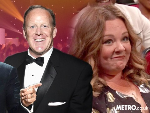 Sean Spicer makes a surprise appearance during the Emmy Awards as Stephen Colbert pokes fun at Trump