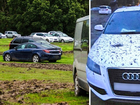 Holidaymakers return to cars caked in mud after they were 'left in a field'