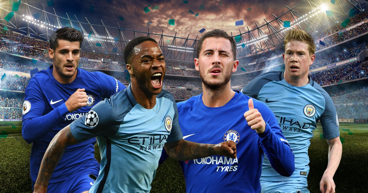Chelsea and Manchester City combined XI, with Alvaro Morata and Raheem Sterling in attack