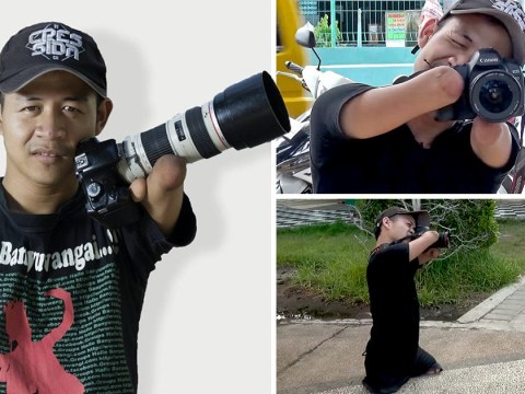 This professional photographer takes stunning photos – despite being born without arms or legs