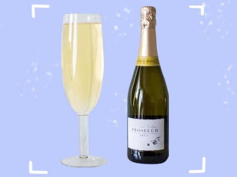 Behold the massive glass that can hold a full bottle of prosecco