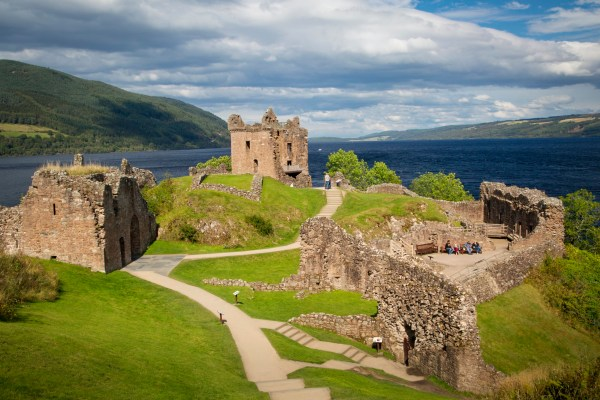 Urquhart Castle, located just off Loch Ness in the Highlands of Scotland