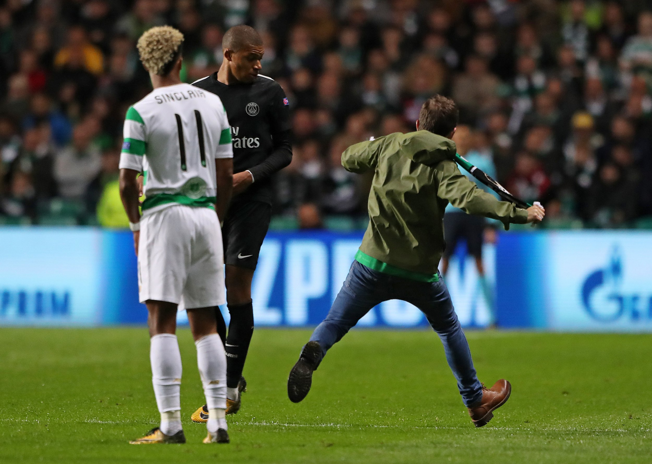 Celtic fan aims kick at Kylian Mbappe during Champions League clash with PSG