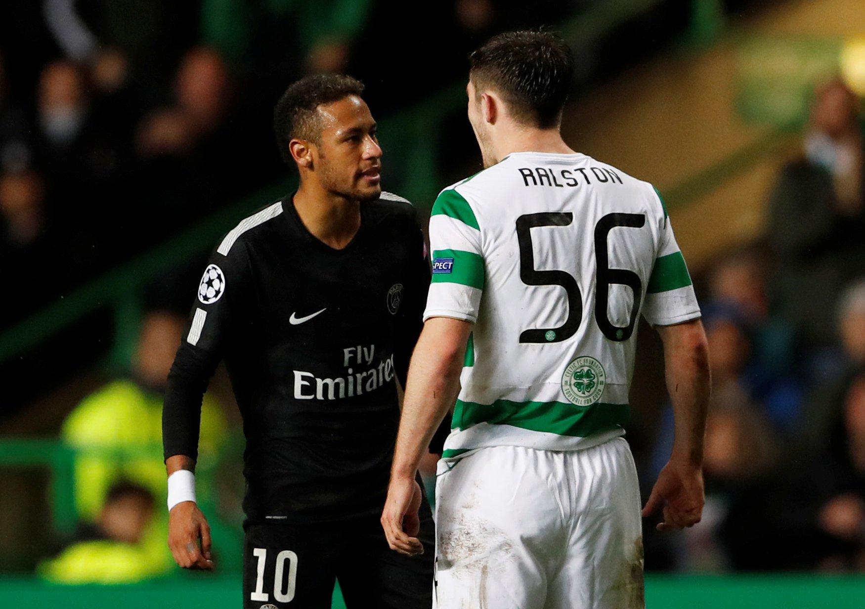 Neymar refuses to shake Anthony Ralston's hand after PSG hammer Celtic