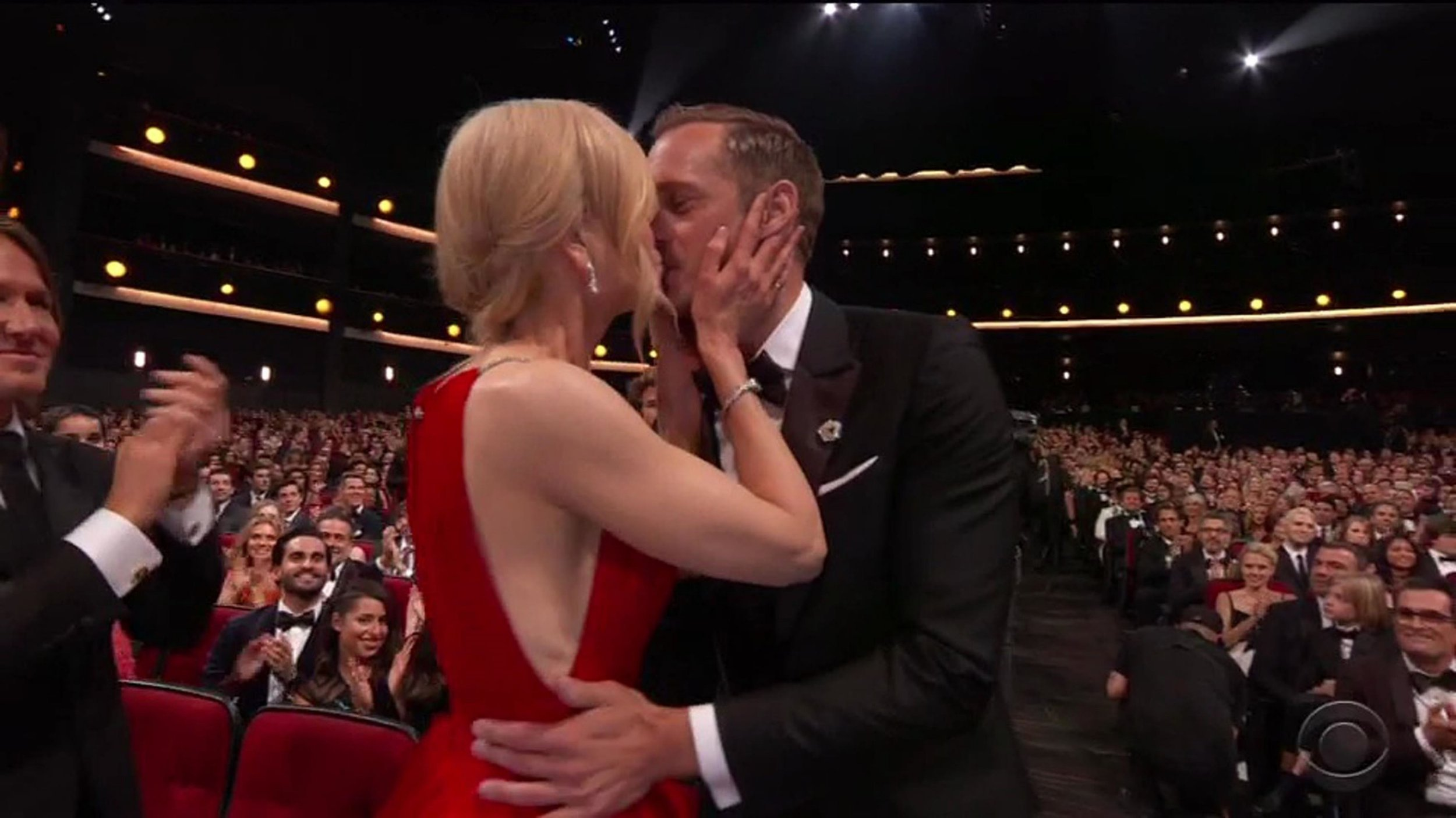 Nicole Kidman kisses Big Little Lies co-star Alexander Skarsgard on the lips in front of husband as he wins Emmy