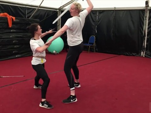 Game of Thrones goes behind the scenes as Maisie Williams and Gwendoline Christie do battle