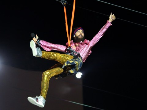 Jared Leto makes spectacular zipline entrance into Rock In Rio: 'A night I'll never forget'