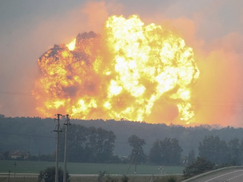 Huge explosions after ammunition factory catches fire in Ukraine