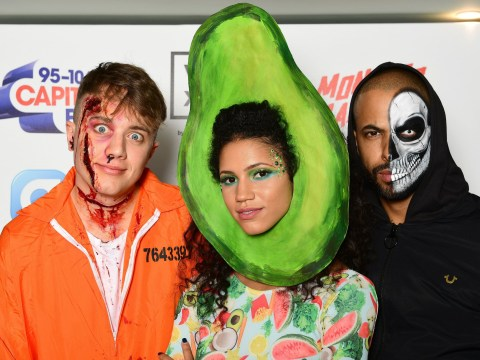 Capital FM DJ Vick Hope dressed up as an avocado for Halloween for some reason