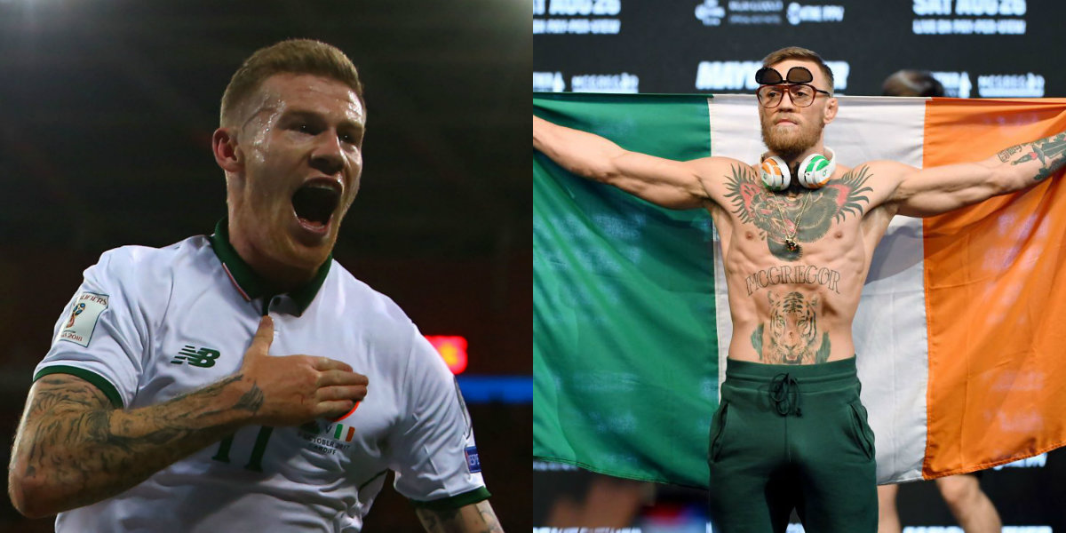 Conor McGregor celebrates Ireland's crucial World Cup qualification win over Wales