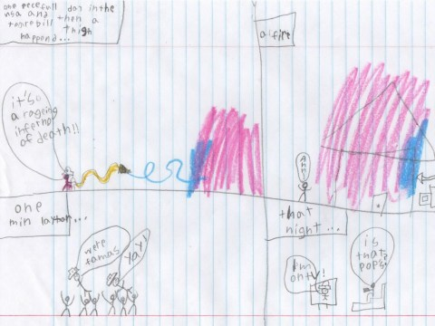 Seven-year-old's drawing of California wildfire shows how kids view disaster