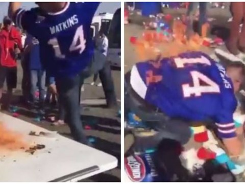 NFL fan sets himself on fire trying to People's Elbow a table
