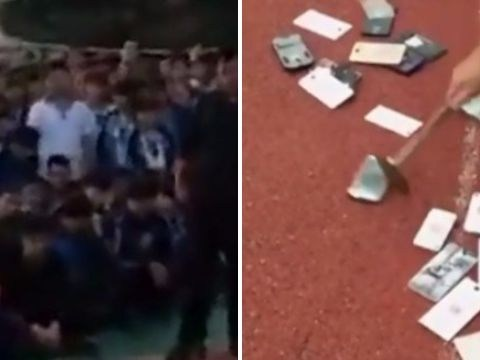 Pupils forced to watch as teachers smash their phones with a hammer