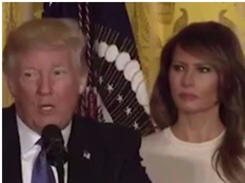 Melania Trump shoots her husband some serious daggers on live TV