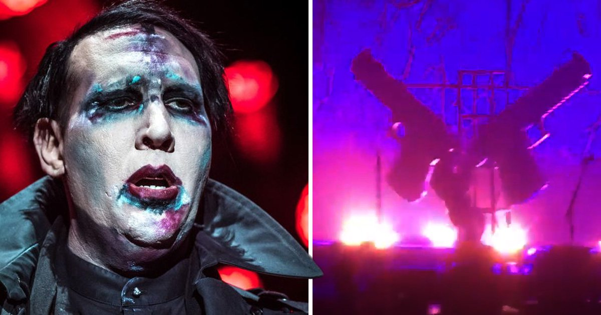 Marilyn Manson crushed on stage and rushed to hospital after gun prop falls