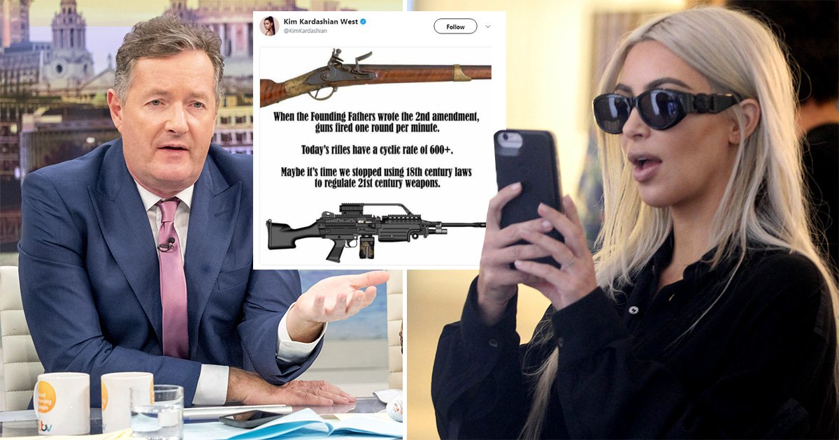 Kim Kardashian applauded by Piers Morgan for tweeting about gun control laws