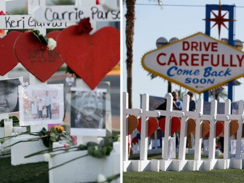 Famous Las Vegas sign transformed into touching tribute to shooting victims