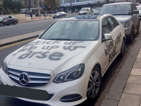 'Stick your job up your arse' and 'worst boss ever' scrawled on Mercedes