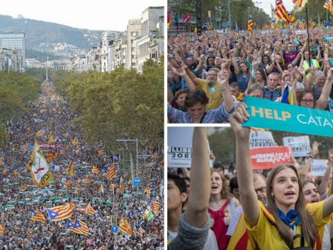 More than 450,000 protesters storm Barcelona streets over Catalonia crisis