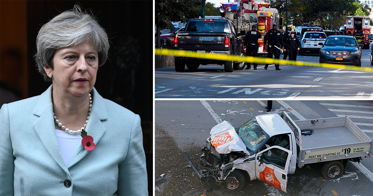 Theresa May says UK 'stands with NYC' after terror attack that left eight dead