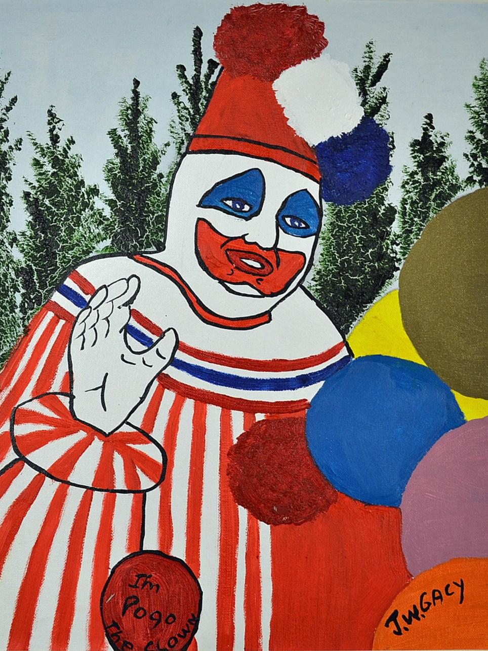Chilling paintings by 'killer clown' John Wayne Gacy on sale